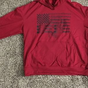 Large Mens American Flag Pullover Hoodie Long Slee